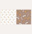 set two christmas botanical seamless patterns vector image vector image