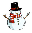snowman colorful doodle icon vector image
