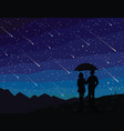 starfall silhouette of couple under umbrella vector image