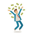 successful businessman jumps and throws money vector image