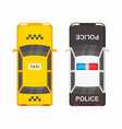top view police and taxi cars vector image vector image