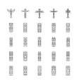 totem icons set outline style vector image vector image