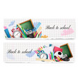 two back to school banners with school supplies vector image vector image