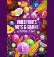 vitamins in healthy dried fruits cereals and nuts vector image vector image