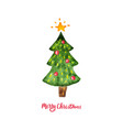 watercolor christmas tree merry christmas and vector image vector image