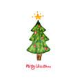 watercolor christmas tree merry christmas and vector image