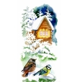 Watercolor winter landscape with snowy house with vector image vector image