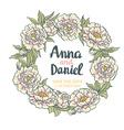 wreath peonies hand drawn artwork wedding card vector image vector image