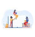 young female characters are sitting on pile vector image vector image