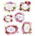 wedding invitation save the date floral frame set vector image