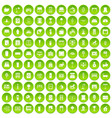 100 interior icons set green circle vector image vector image