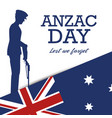 anzac day poster with soldier standing guard vector image