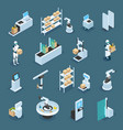 automated shops isometric icons vector image vector image