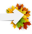autumn card with colorful leaves vector image vector image