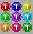 bottle icon sign symbol on nine round colourful vector image