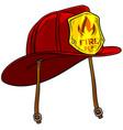 cartoon red firefighter helmet with golden badge vector image vector image