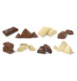 chocolate pieces realistic dark white and milk vector image vector image