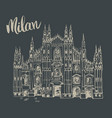 duomo cathedral in milan italy hand drawn sketch vector image vector image