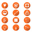 electricity icon in flat style on orange circle vector image