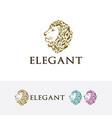 elegant lion logo design vector image vector image