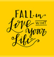 fall in the love with your life vector image