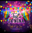 festa junina with flags and paper vector image vector image