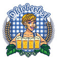 girl of oktoberfest design vector image vector image