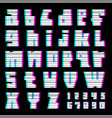 glitch font with interference lowercase vector image vector image