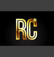 gold alphabet letter rc r c logo combination icon vector image vector image