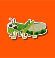 grasshopper sticker on orange background