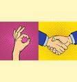 hands showing deaf-mute different gestures human vector image vector image