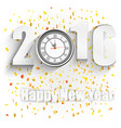 happy new year for 2016 with clock vector image vector image