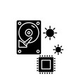 hardware solutions black icon sign on vector image vector image