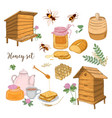 honey production beekeeping or apiculture set - vector image