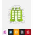hotel paper sticker with hand drawn elements vector image