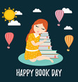 image of a cute dreaming girl with a pile of books vector image