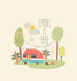 little trailer standing in spring forest hello vector image vector image