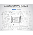 Mobile web traffic concept with Doodle design vector image vector image