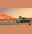 muscle car with big engine on desert road vector image