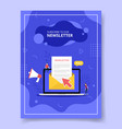 newsletter concept with email and laptop vector image vector image