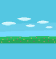 pixel art game background with blue sky and clouds vector image vector image