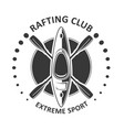 rafting or kayaking club emblem - canoe kayak icon vector image vector image