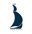 sailing ship on waves logo for a travel agency vector image