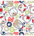 seamless pattern with funny animals cartoon vector image
