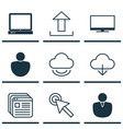 set of 9 web icons includes cursor tap display vector image vector image