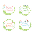 set of floral label for wedding vector image