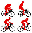 set silhouette of a cyclist male on white vector image vector image