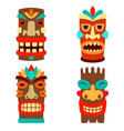 set tiki masks in flat style isolated on vector image