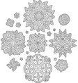 set with abstract elements for coloring book pages vector image