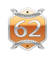 Sixty two years anniversary celebration silver vector image vector image